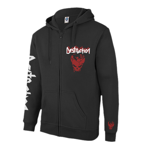 Zip Hoodie Red Skull [black]