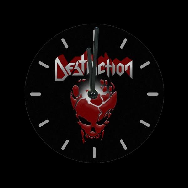 "Glass Wall Clock [black] ""Red Skull"""